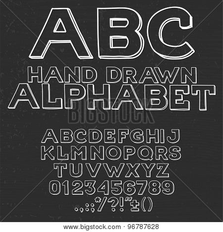 Hand drawin alphabet handwritting abc vector font. Type letters, numbers and punctuation marks