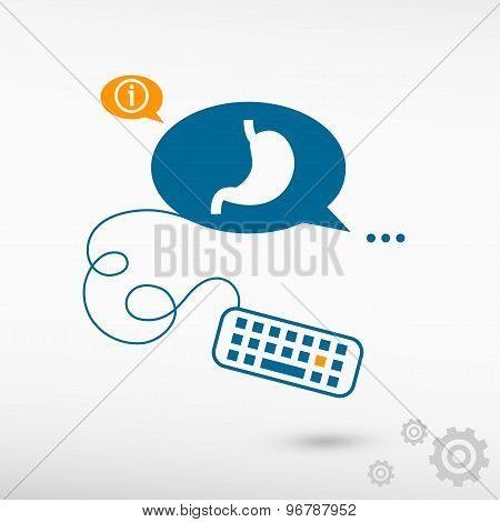 Stomach Icon And Keyboard On Chat Speech Bubbles