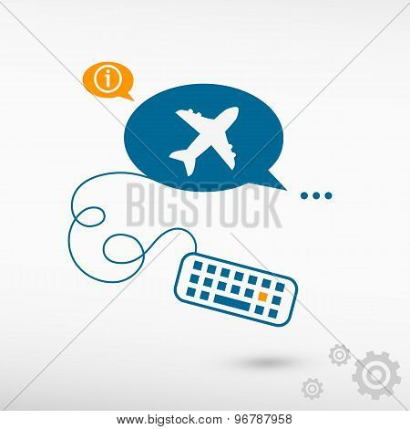 Airplane And Keyboard On Chat Speech Bubbles