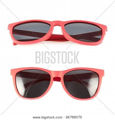 Red sun glasses isolated