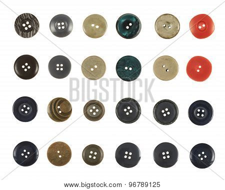 Multiple sew-through buttons isolated
