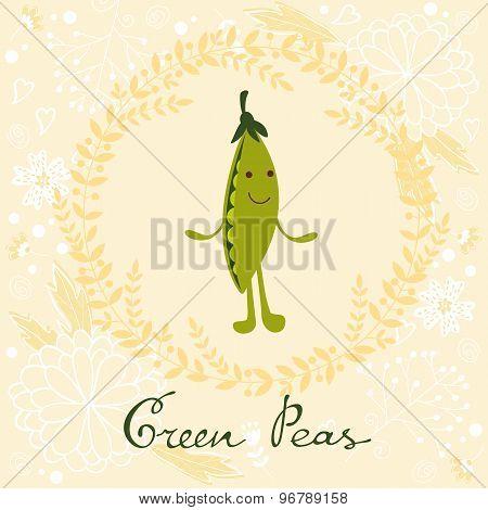 Cute peas character illustration