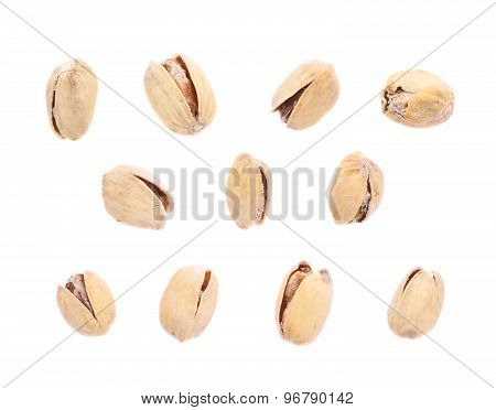 Multiple single pistachios isolated