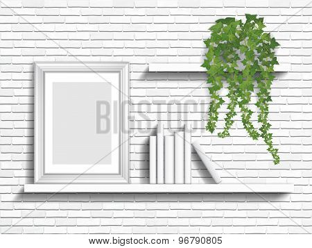 Books And Houseplant On Shelves