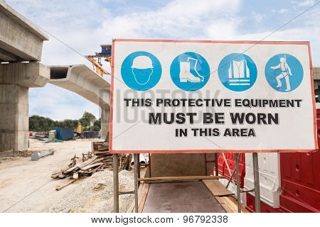 Safety Signage at rail infrastructure construction site