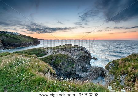 Clifftops At Port Gaverne In Cornwall