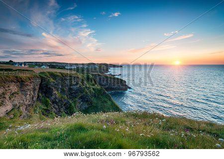 Sunset Over Port Gaverne In Cornwall