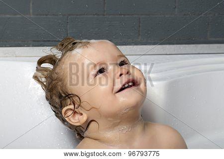 Happy Baby Boy In Bath