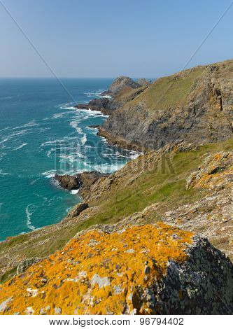 South West coast path view between Holywell bay and Perranporth Cornwall UK