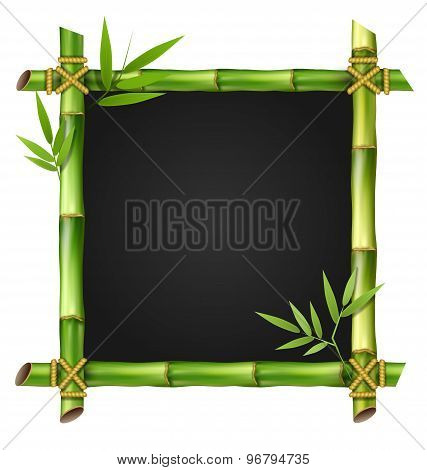 Bamboo Grass Frame With Leafs Isolated On White