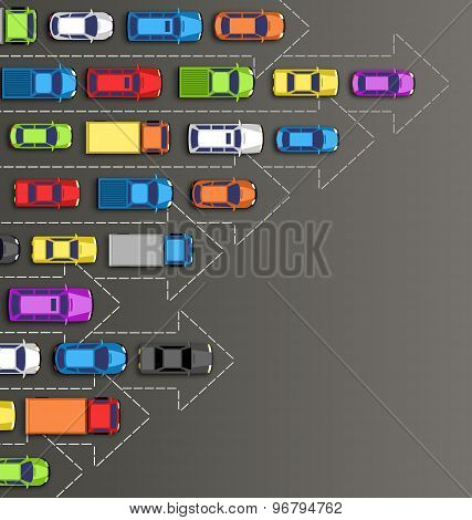 Road Background With Multicolored Cars Isolated On Gray