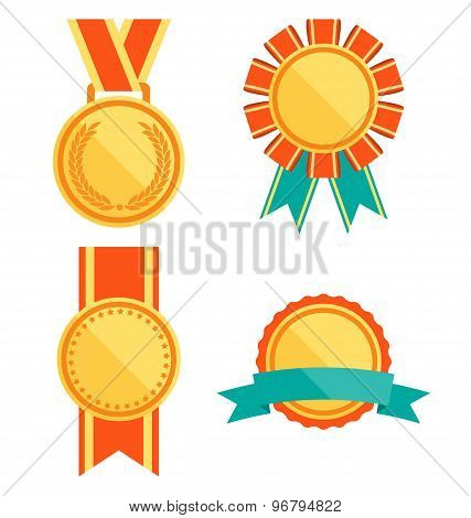Golden Premium Quality Best Flat Labels Medals Collection Isolated On White Background