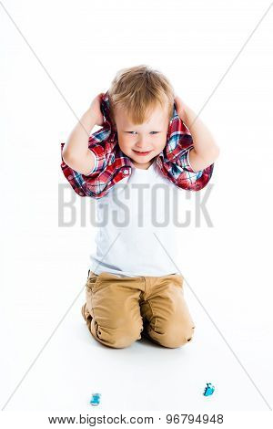 Little Cheerful Blue-eyed Boy