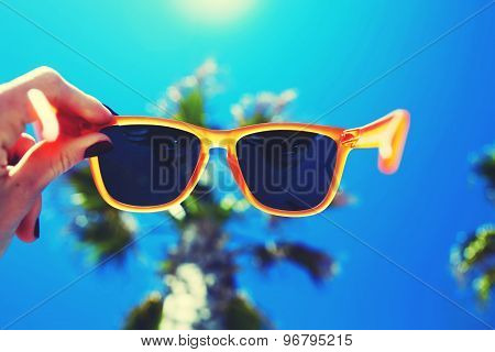 Female hand holding colorful sunglases against palm tree and blue sunny sky
