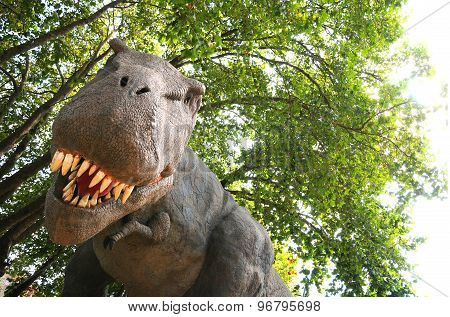 Isolated Dinosaur Model On A Forest Background
