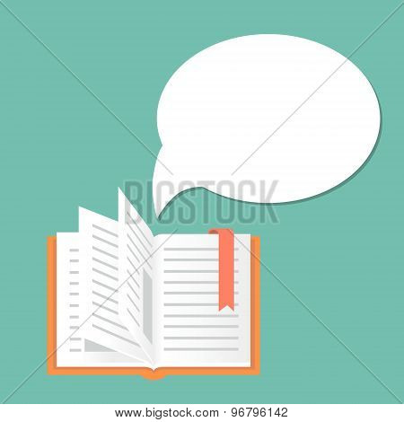 Open book background with speech bubble.  Literature and library, education and science