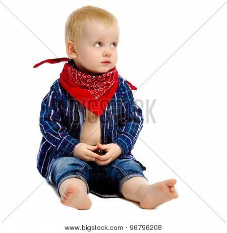 Little Boy In Gangster Kerchief Around His Neck On A White