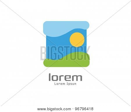 Abstract nature landscape vector icon. Isolated on white background. Circle, colored, shape, globe, abstract, web, flow, minimal, sun, outdoor. Company logo. Identity and branding design.