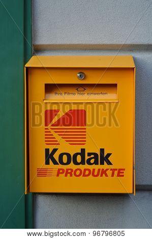 Kodak mail box in front of photo shop in Interlaken Switzerland