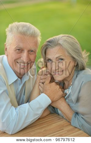 Senior couple sitting at  table