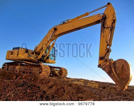 Hydraulic Excavator At Construction Site