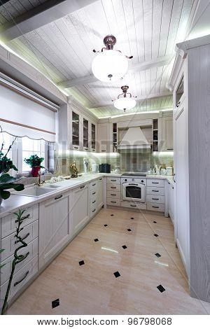 Interior Of A Modern Luxury Bright White Kitchen