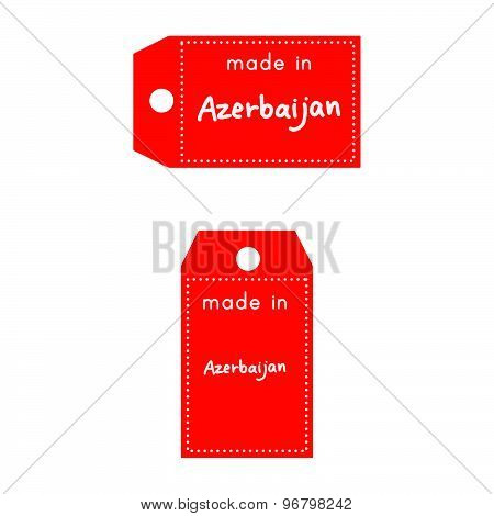 Red Price Tag Or Label With White Word Made In Azerbaijan Isolated On White Background.
