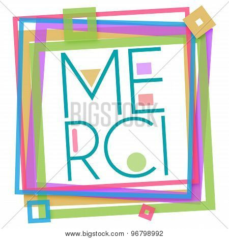 Merci Text Colorful Frame Square