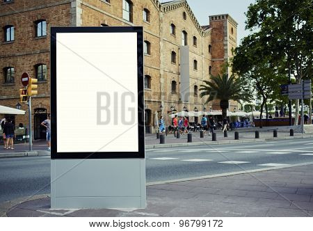 Public information board with copy space for your text message or content in the big town