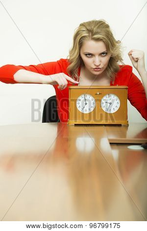 Pretty Woman With Clock