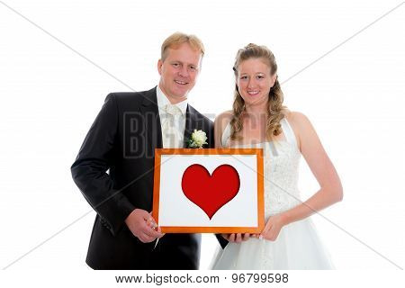 Bridal Couple With Heart In A Frame