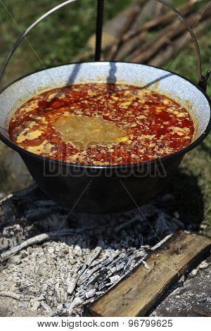 Ukrainian Borsch In Kettle