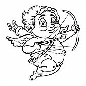 stock photo of cupid  - A vector illustration of a cute cartoon Cupid with a bow and arrow - JPG