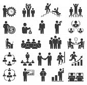 Business People In Work. Office Icons, Conference, Computer Work,  Team Working, Motivation To Succe poster