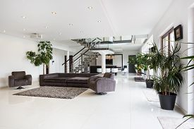 stock photo of mansion  - View of spacious room interior in luxury mansion - JPG