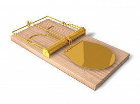 stock photo of mouse trap  - 3d mouse trap with wooden body and golden details - JPG
