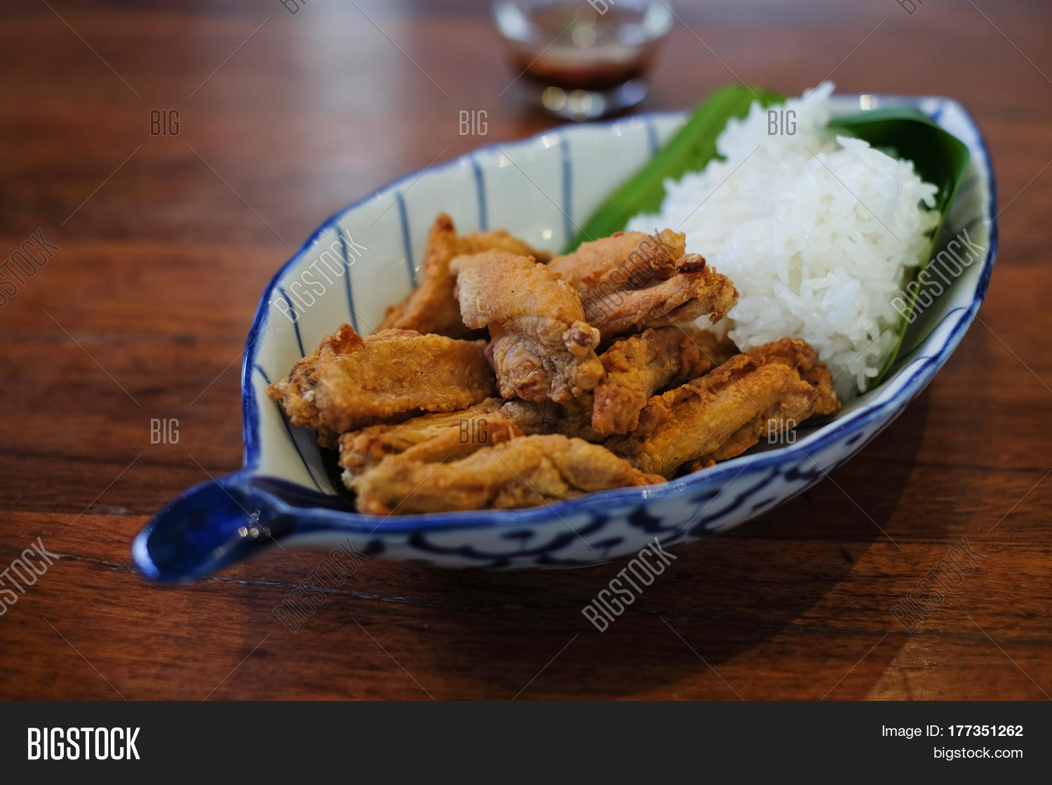 Fried chicken wings sticky rice on image photo bigstock for Table 52 fried chicken recipe