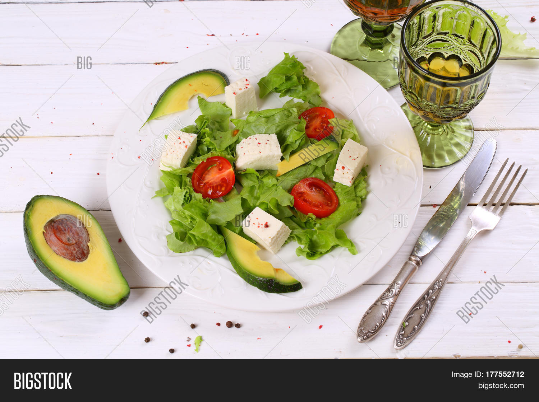 Salad Avocado Cheese White Wine Image & Photo | Bigstock