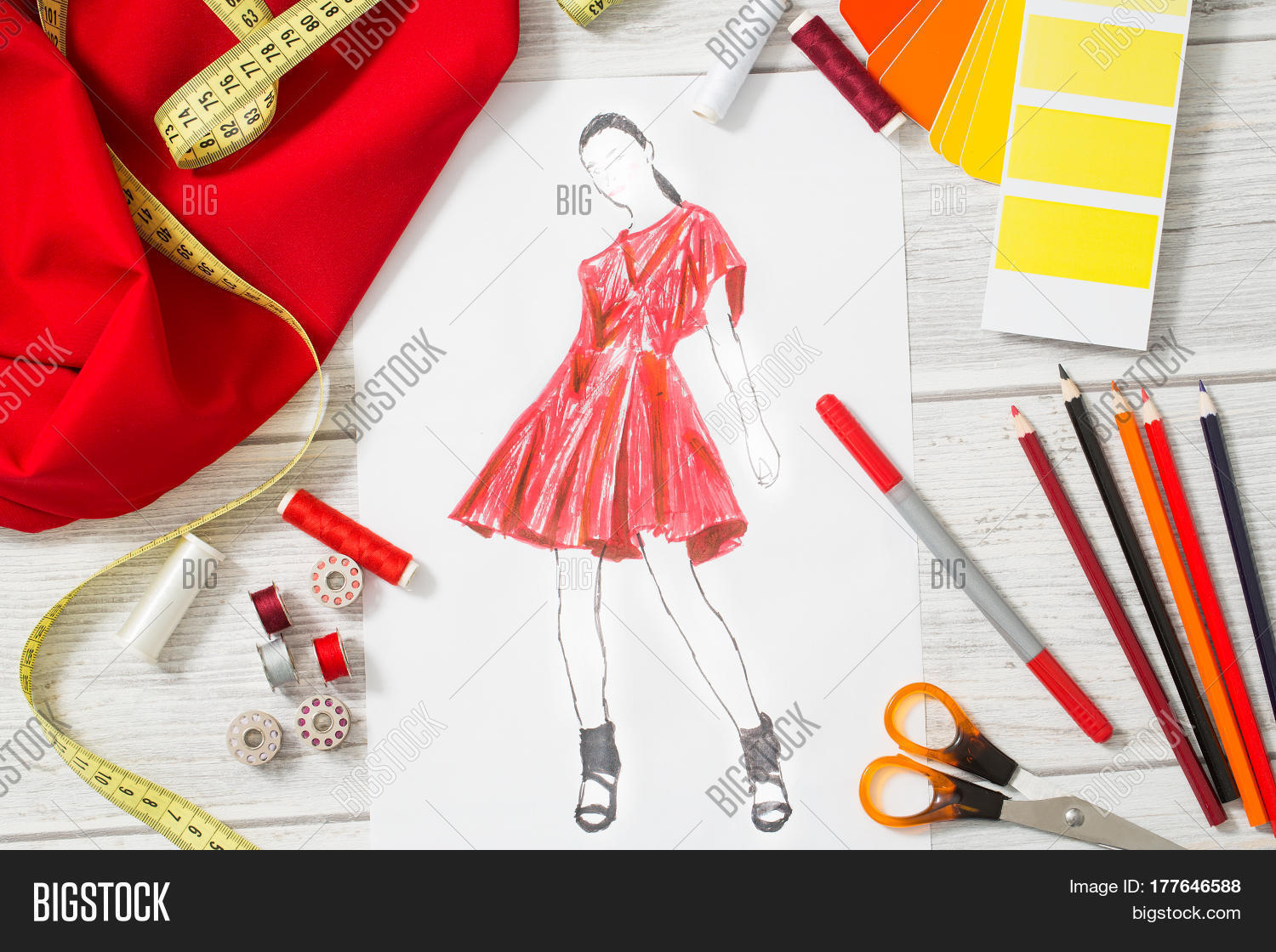 Fashion Designer Studio Equipment Image Photo Bigstock