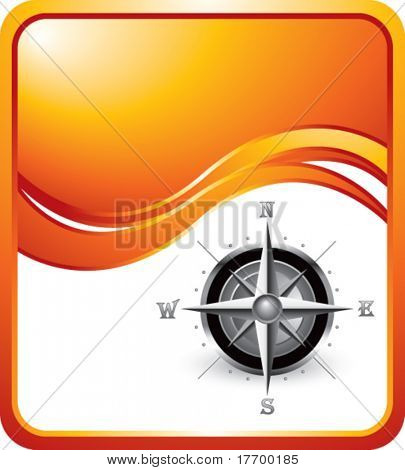 compass symbol on orange wave background