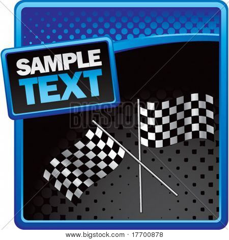 racing checkered flags on blue and black halftone advertisement