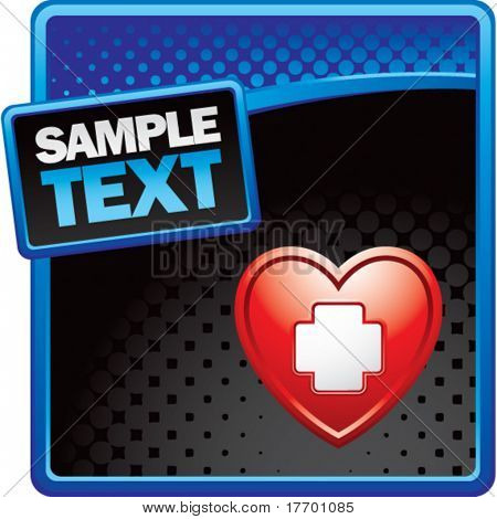 medical heart cross on blue and black halftone advertisement