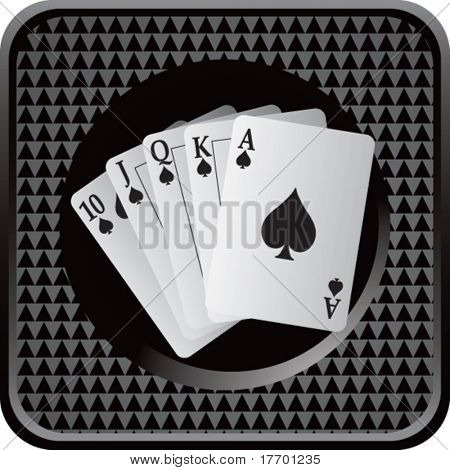 playing cards on black square web button