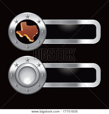 texas state on metal banners