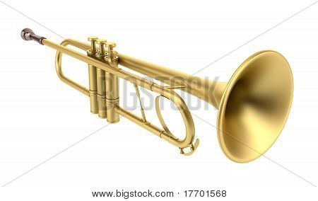 high resolution brass trumpet isolated on white background