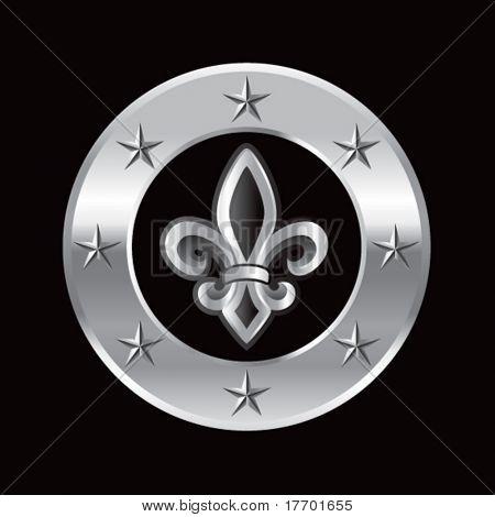 fleur de lis on silver star ring
