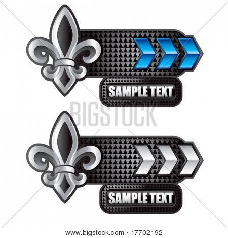 fleur de lis on blue and white arrow advertisements
