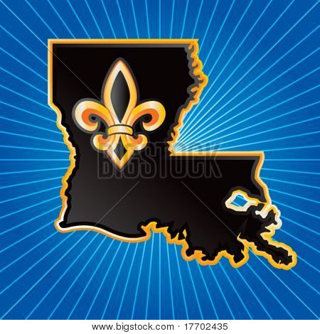 louisiana state shape on blue starburst