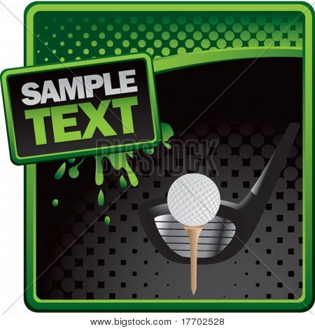 golf ball on tee with club on classy modern style grunge template