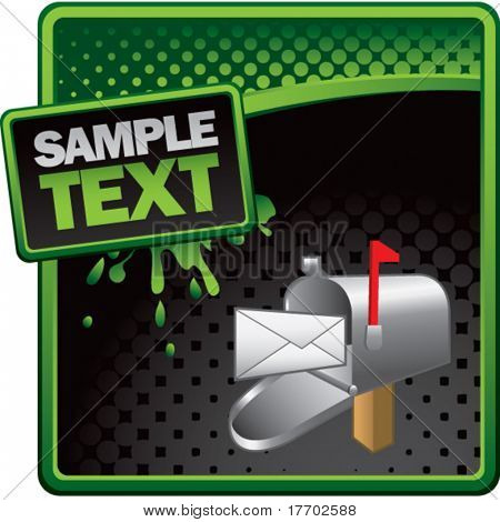 email mailbox on green and black halftone advertisement